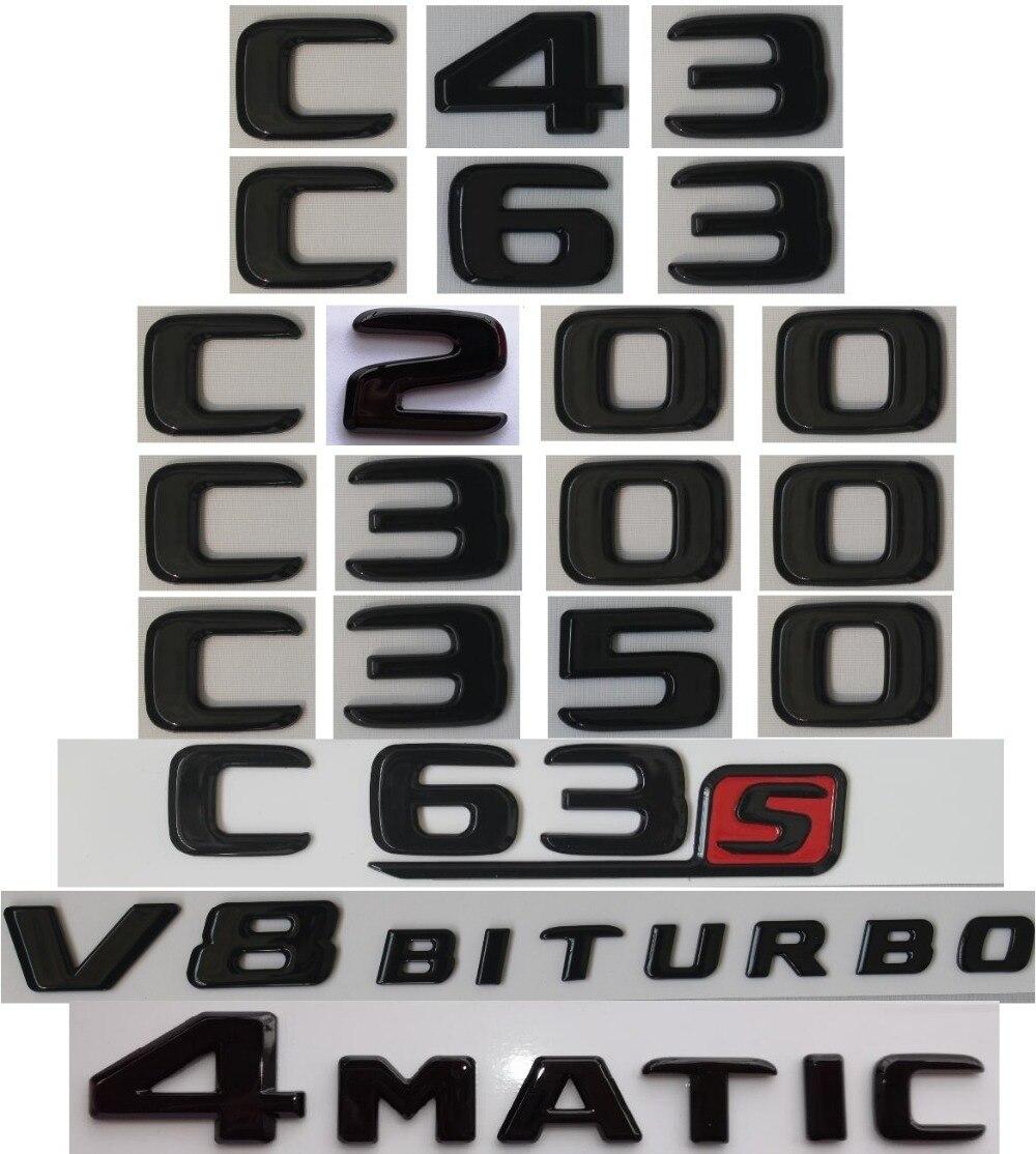 Plat Brillant Brillant Noir Tronc Lettres Emblème Emblèmes Badge pour Mercedes Benz C43 C63 C63s C300 C350 4 MATIC AMG V8 BITURBO 2017 +