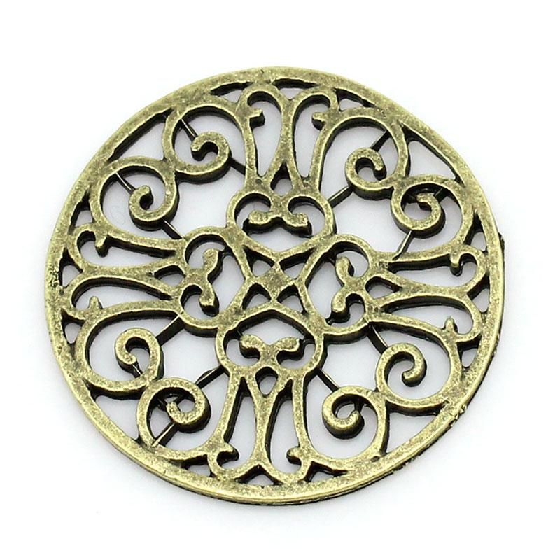 DoreenBeads Zinc Metal Alloy Embellishments Findings Round Antique Bronze Pattern Pattern 28mm(1 1/8