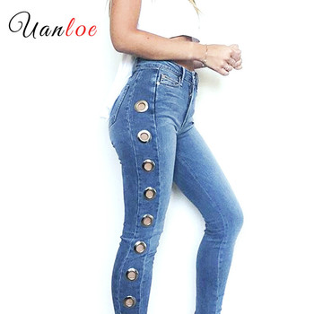 New 2019 Hot Mid High Waist Eyelets Jeans Women`s Stretchy Pencil Skinny Denim For Woman