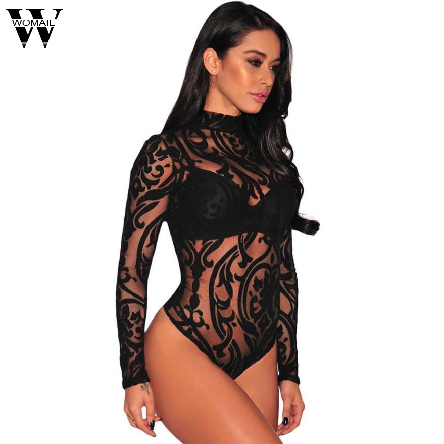 Shorts 2017 Europe and the United States fashion WomensFemale Gauze Ultrathin Mesh Long Sleeve Bodysuits SEP13