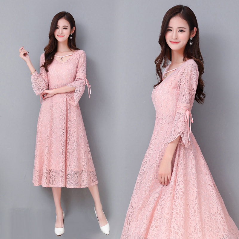 R&H 2018 Black Lace Long Evening Women Flare Sleeve Beading V Neck Lady Dress Pink Princess Party Dress autumn long lace dress cut out pink blue fit and flare sleeve bodycon tunic evening party midi dress european style