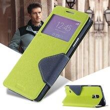 Pour samsung galaxy s5 i9600 s4 i9500 fente pour carte hit couleur mode couverture de téléphone s4 s5 marque de luxe fenêtre d'affichage flip pu en cuir case