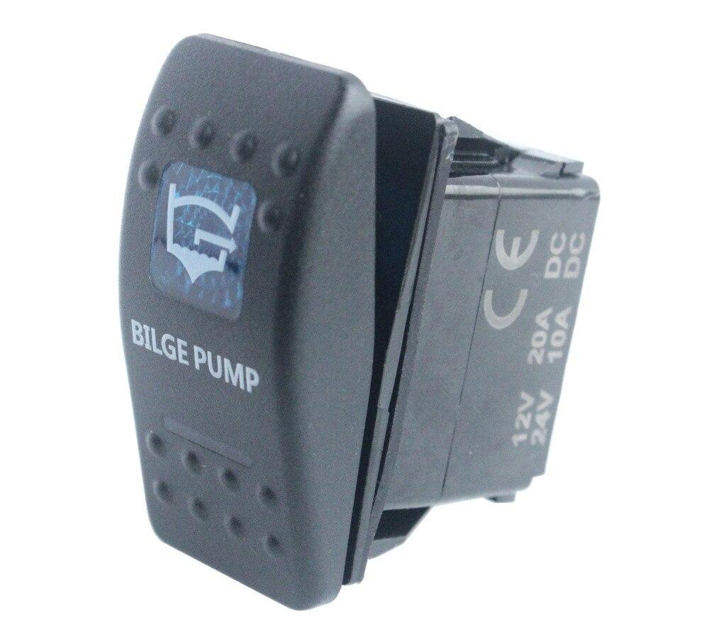 Bandc waterproof IP68 Marine Grade Car Boat Blue Led 5 pin spst on-off WINCH ISOLATOR Rocker Switch