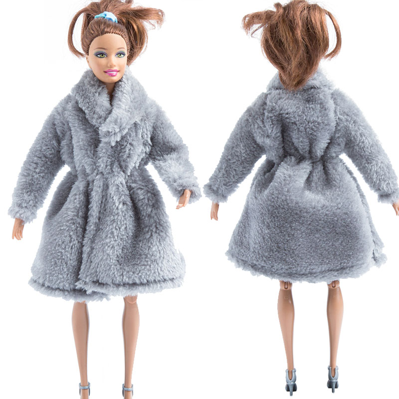 Light Grey Doll Outfits Clothes For 1//6 Doll Fur Coat Doll Dress For 11.5in Doll