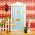 1:12 Light Blue Triangle roof Lovely Fairy Door W/ Metal Accessories Miniature Outside Open