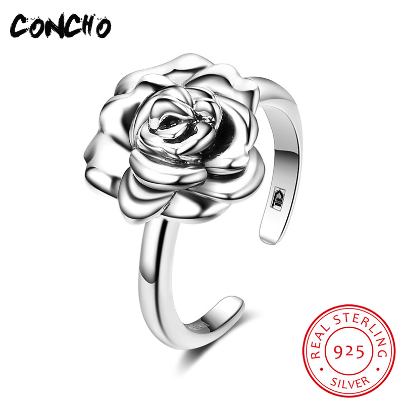 Concho Jewelry 925 Sterling Silver Flowers Opening Rings For Women Party 2018 New Special Offer Bands None Party Anel Feminino цена