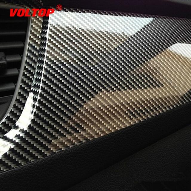 5D de alto brillo Película de vinilo de fibra de carbono 10x152cm envoltura de estilo de coche de la motocicleta accesorios de estilo de coche Interior de fibra de carbono de la película