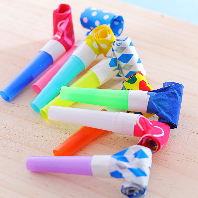 10pcs small colorful funny whistles kids childrens birthday party dots blowing dragon blowout baby birthday supplies