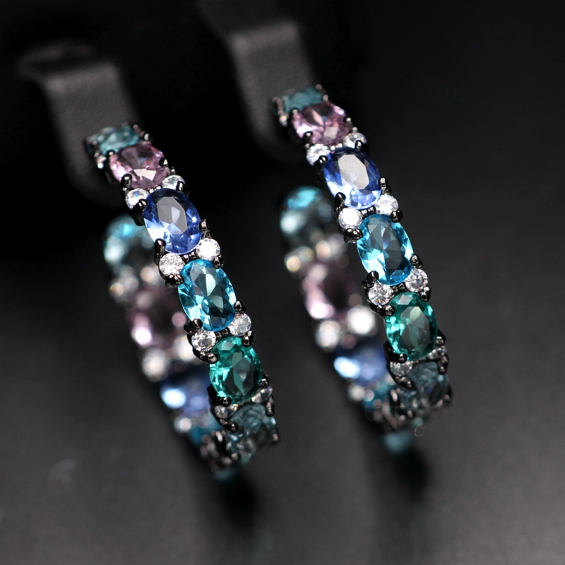 Colorful Large Round Hoop Earring Pave Multi Colorful Cubic Zirconia Vintage Clear Crystal Glass Earrings Women Fashion Jewelry