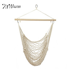 KiWarm Hanging Swing Garden Patio Hammock Chair Cotton Rope Wooden Bar  Outdoor Patio Porch Yard Tree