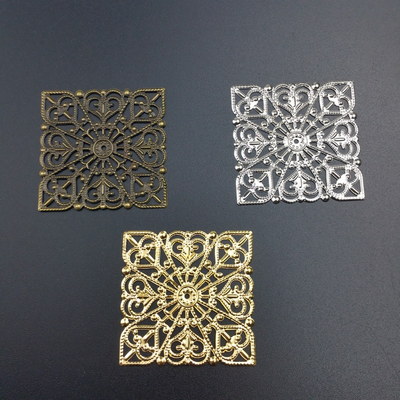 20pcs/lot 40mm Metal Filigree Slice Charms Base Setting Jewelry DIY Components Packaging Ornament Craft Decoration