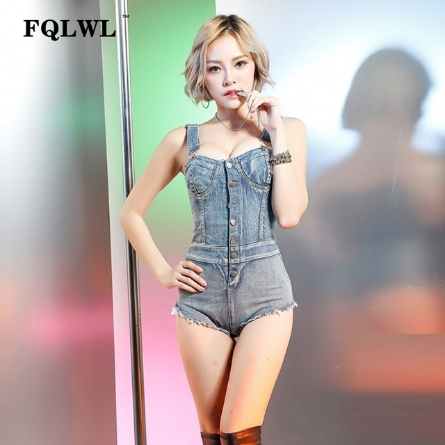 e378d0628f FQLWL Sexy Bodycon Denim Jumpsuits Summer Rompers Backless Bodysuit Top  Bandage Tight Washed Jeans Denim Overalls Women Playsuit
