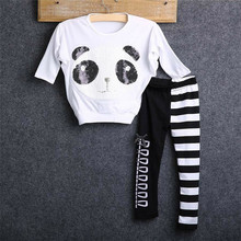 Emmababy Hot Sale Active arrival Baby Girls Panda Sequin T-shirt Tops and Striped Bow Leggings Outfits 2Pcs Set Clothes