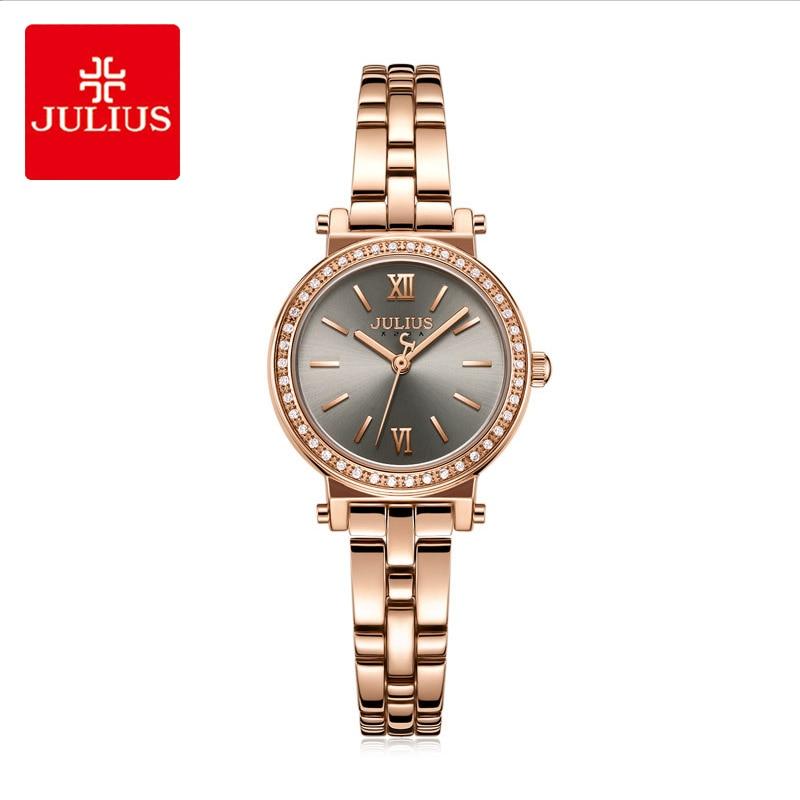 をジュリアス女性クラシックステンレススチールブレスレットウォッチ女性の高級ラインストーンローマ数字腕時計リロイ Mujer 時計  グループ上の 腕時計 からの レディース腕時計 の中 1
