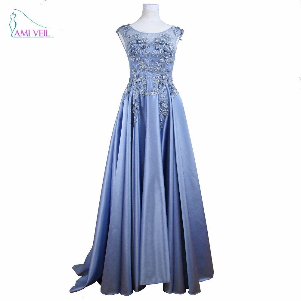 2017 Blue Floral Lace Appliques Sleeveless Evening Dresses