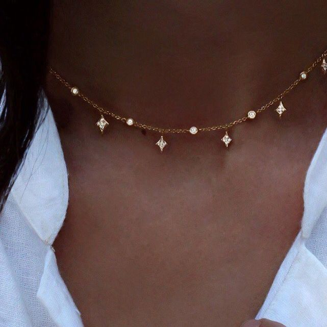 925 Silver Fashion New Jewelry Charm Stars Pendant Necklace Choker Chain Gift