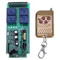 Ac 85-250ボルト4チャンネル4キープラスチックリモートコントローラワイヤレスリモートコントロールリレースイッチ用ガレージゲートドア