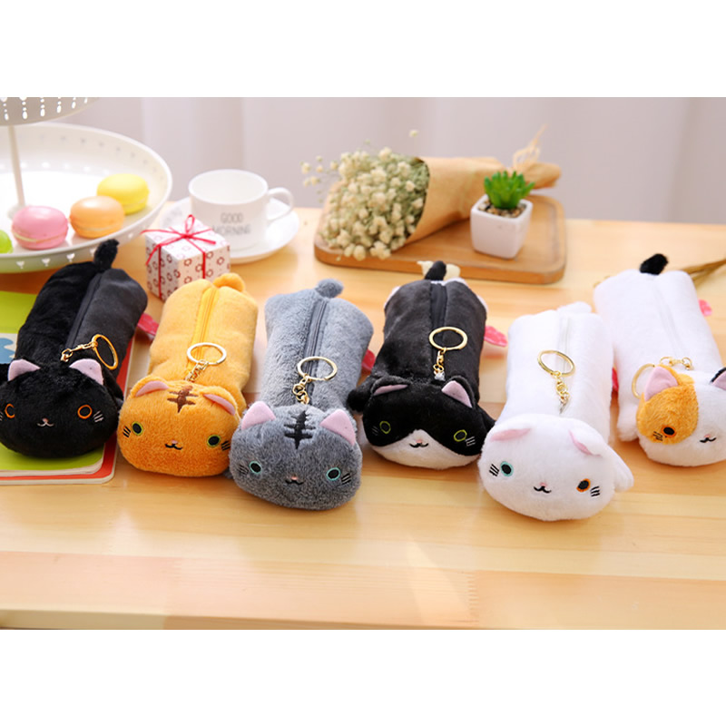2017 New Japanese Style Cute Kawaii Varied Color Cat Pencil Case Bag School Office Supply Stationery For Student Boy Girl Gift