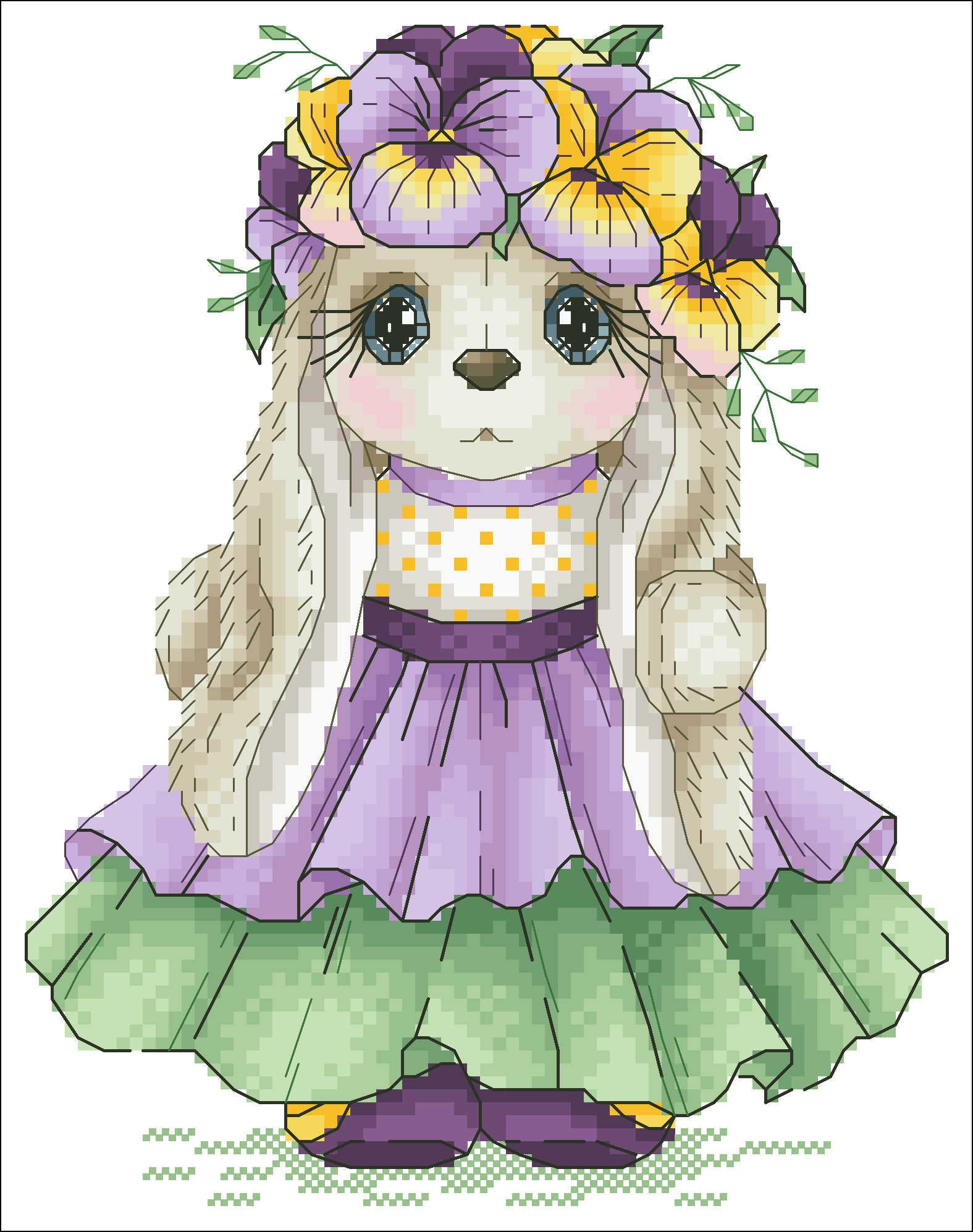Paquet de point de croix féerique lapin | Motif floral, motif animal de dessin animé 18ct 14ct 11ct, tissu, broderie, pour les travaux principaux