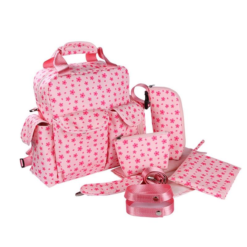 7 PCS/SET 2016 Baby Nappy Bags Diaper Bag Mother Shoulder Bag Fashion Maternity Mummy Handbag Waterproof Baby Stroller Bag NEW waterproof 2017 women handbag diaper bag fashion maternity mummy women messenger bags handbag