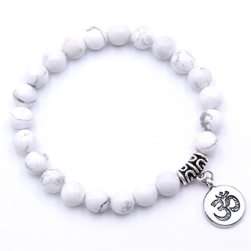 Natural Stone Strand Bracelet Yoga Chakra Mala Bracelet OM Lotus Women Men Beaded Charm Bracelet Jewelry Pulseras dropshipping - Окраска металла: ZT110-17