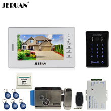 "JERUAN Home 7"" TFT video door phone intercom system kit RFID waterproof touch key password keypad Camera + Electronic Lock(NO)"