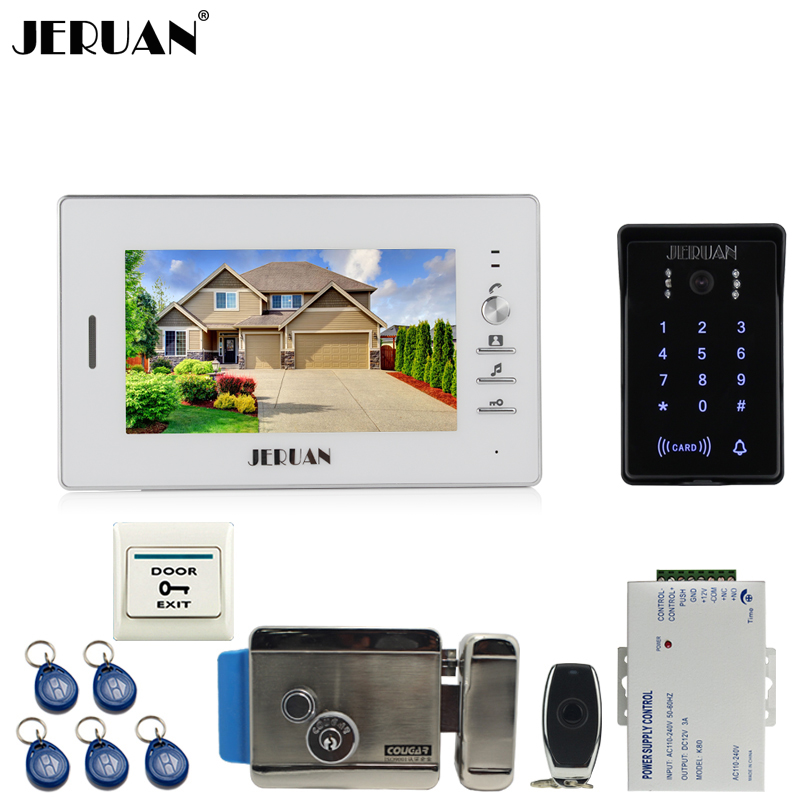 цена на JERUAN Home 7`` TFT video door phone intercom system kit  RFID waterproof touch key password keypad Camera + Electronic Lock(NO)