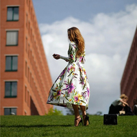 Top Quality Brand New 2015 Vintage Women Maxi Dress Long Sleeve O Neck Floor Length Print