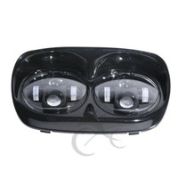 80W Motorcycle Hi/Lo Beam Dual LED Headlight For Harley Davidson Road Glide 1998 2013 Chrome Black Motorcycle