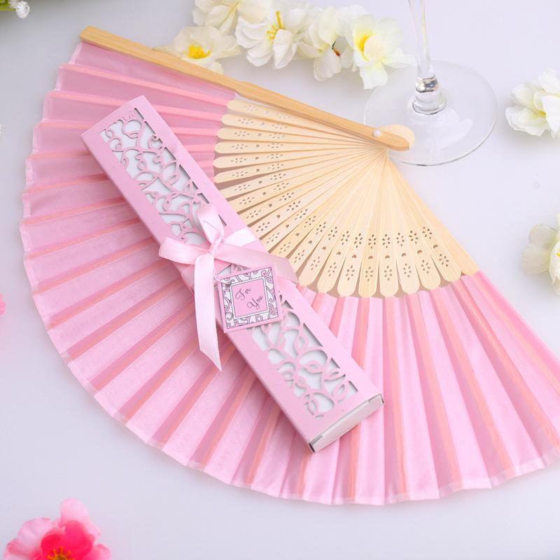 50Pcs Wholesale Mix Color Personalized Printing/Engrave Logo On Ribs Wooden Bamboo Hand Silk Wedding Fans+Gift Box/Organza Bag ...