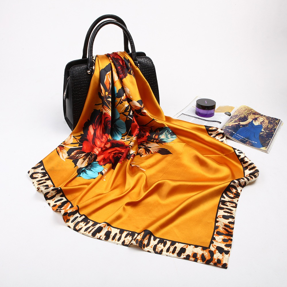 2018 Summer Silk   Scarf   Women Leopard Flower Print   Scarf   New Designer Basic Brand Quality Shawls Women's   Scarves   and   Wraps