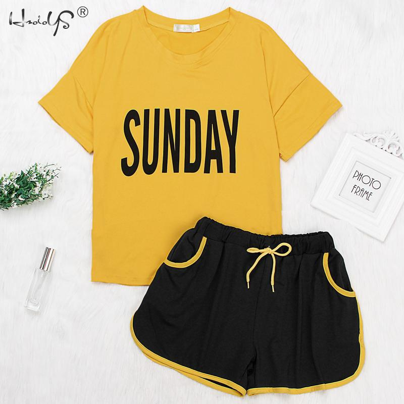 0dd66ba28 Verano playa estilo mujeres 2 piezas conjunto Rosa letra impresa camiseta +  pantalones cortos de ...