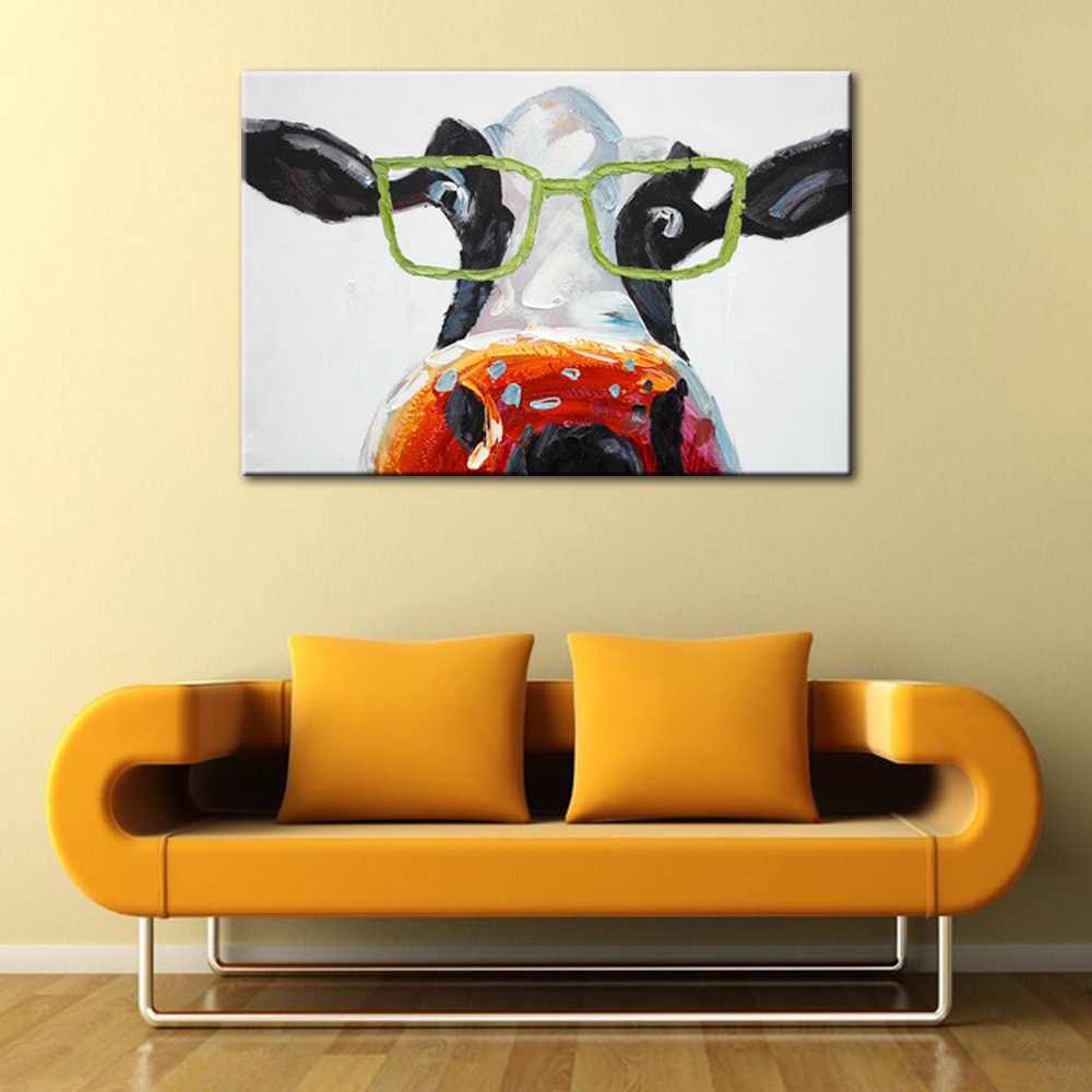 Funny Cows Wear Glasses Oil Painting Cartoon Animal Canvas Art Wall ...