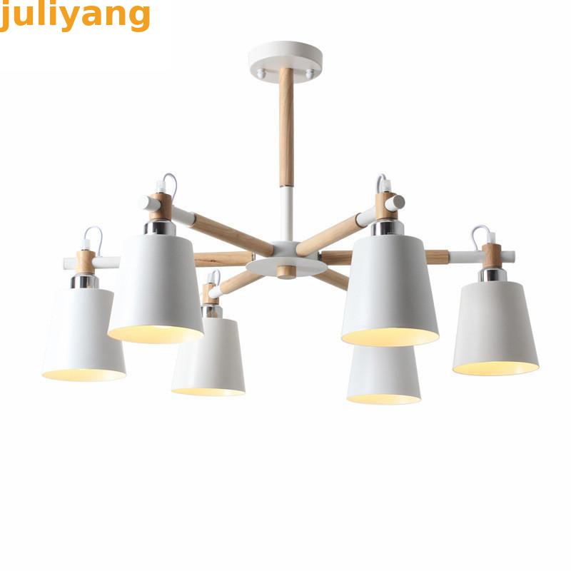 Creative simple 3 6 8 head solid wood LED chandelier lamp for living room white black
