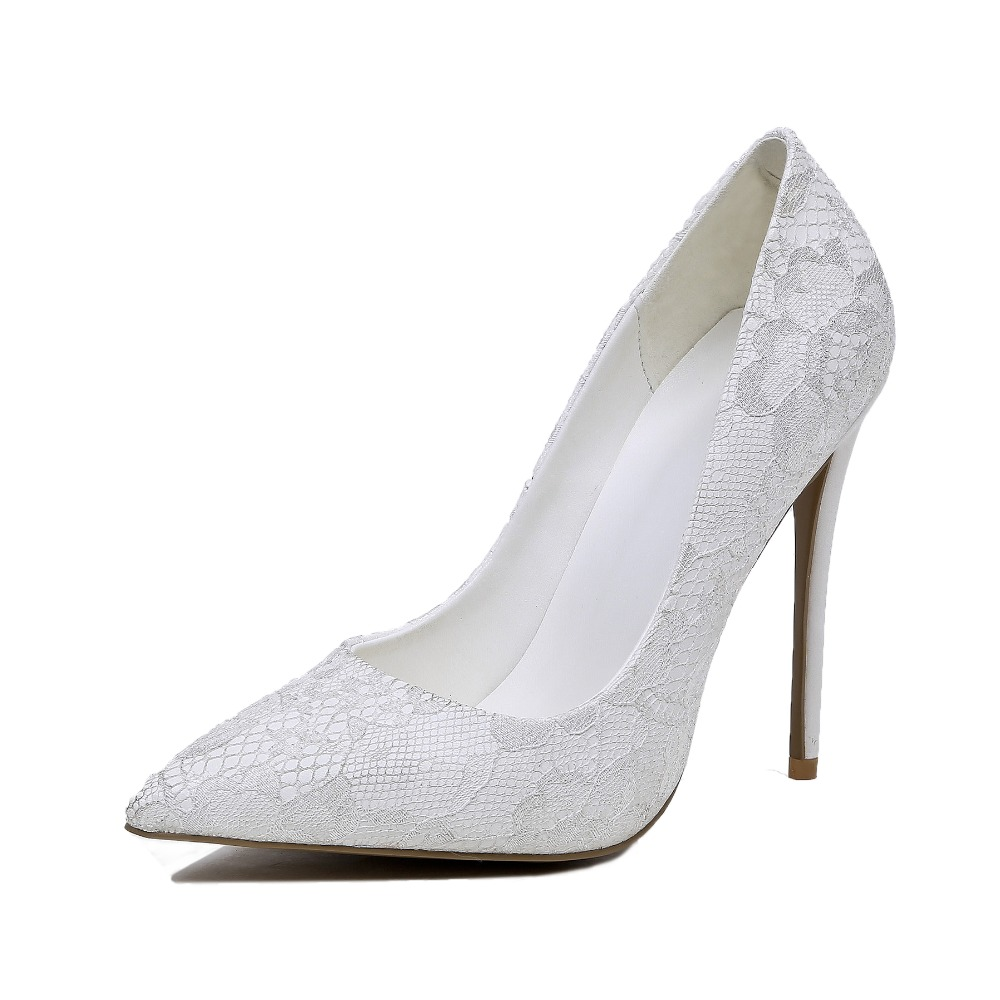 ФОТО designer shoes women luxury 2017 Summer nude pumps size 10 high heels cinderella white shoes Thin Heels Lace Pointed Toe Slip-On