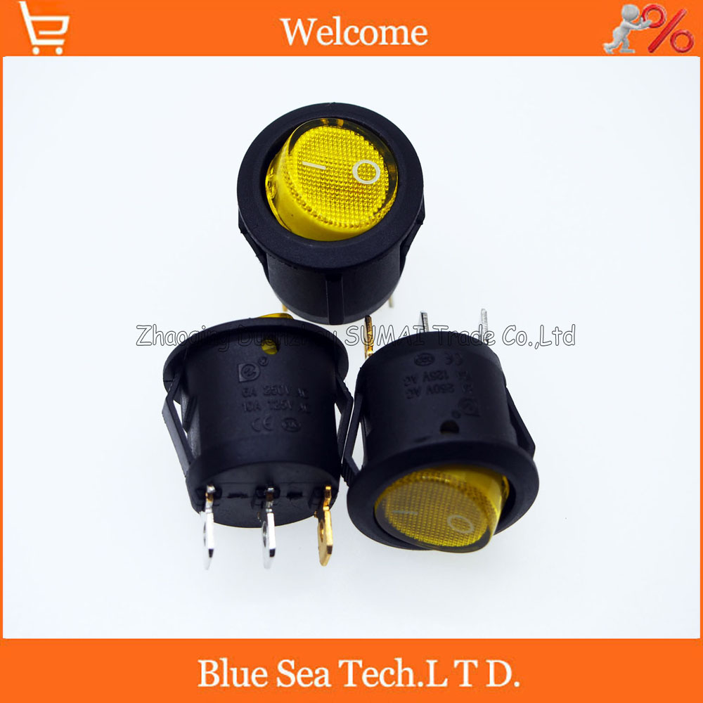 3 Pin LUMINATED Round Rocker Switch,Yellow light button switch for Power,car etc.10A/125VAC,6A /250VAC,Dia:20mm 1pcs kcd4 202 boat rocker switch power switch 4 feet with light 31x25mm 20a 125vac 16a 250vac
