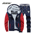 Jolintsai Hoodie Fleece Men's Sportwear Suits 2017 Winter Tracksuit Men Hoodies&Sweatshirts Jacket+Pants Set Sweat Suit Men