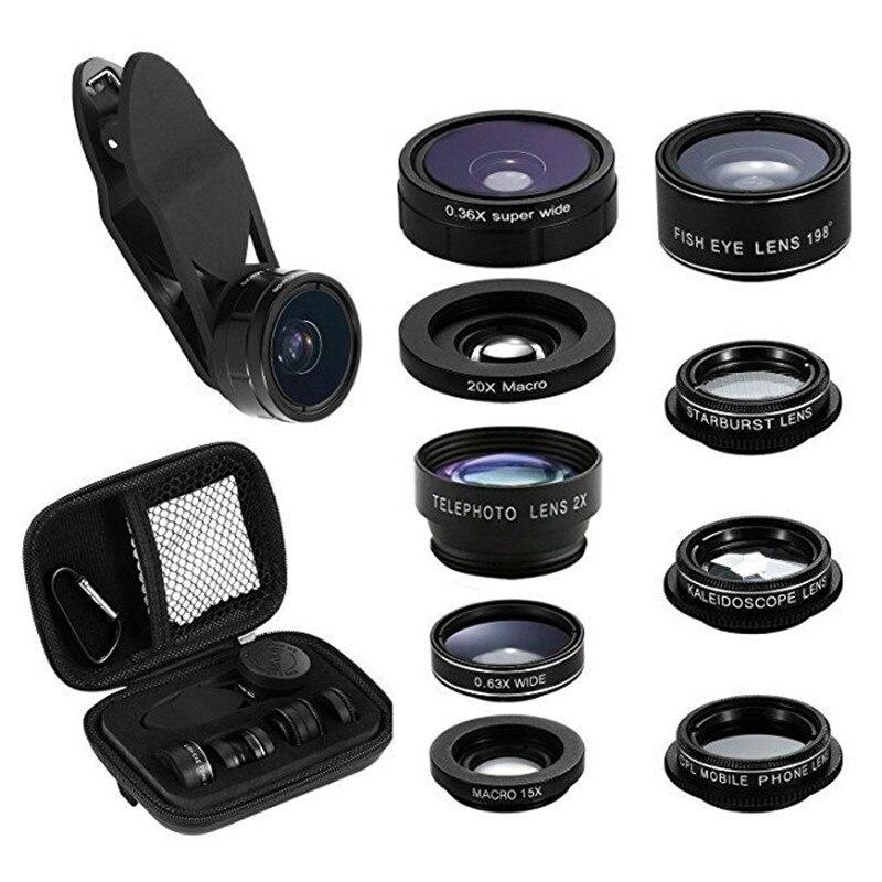 9 in 1 Mobile Phone Lens Telescope Zoom Fisheye Camera Lens Kaleidoscope Marco Len Clip Holder For iPhone Samsung Huawei EEMIA