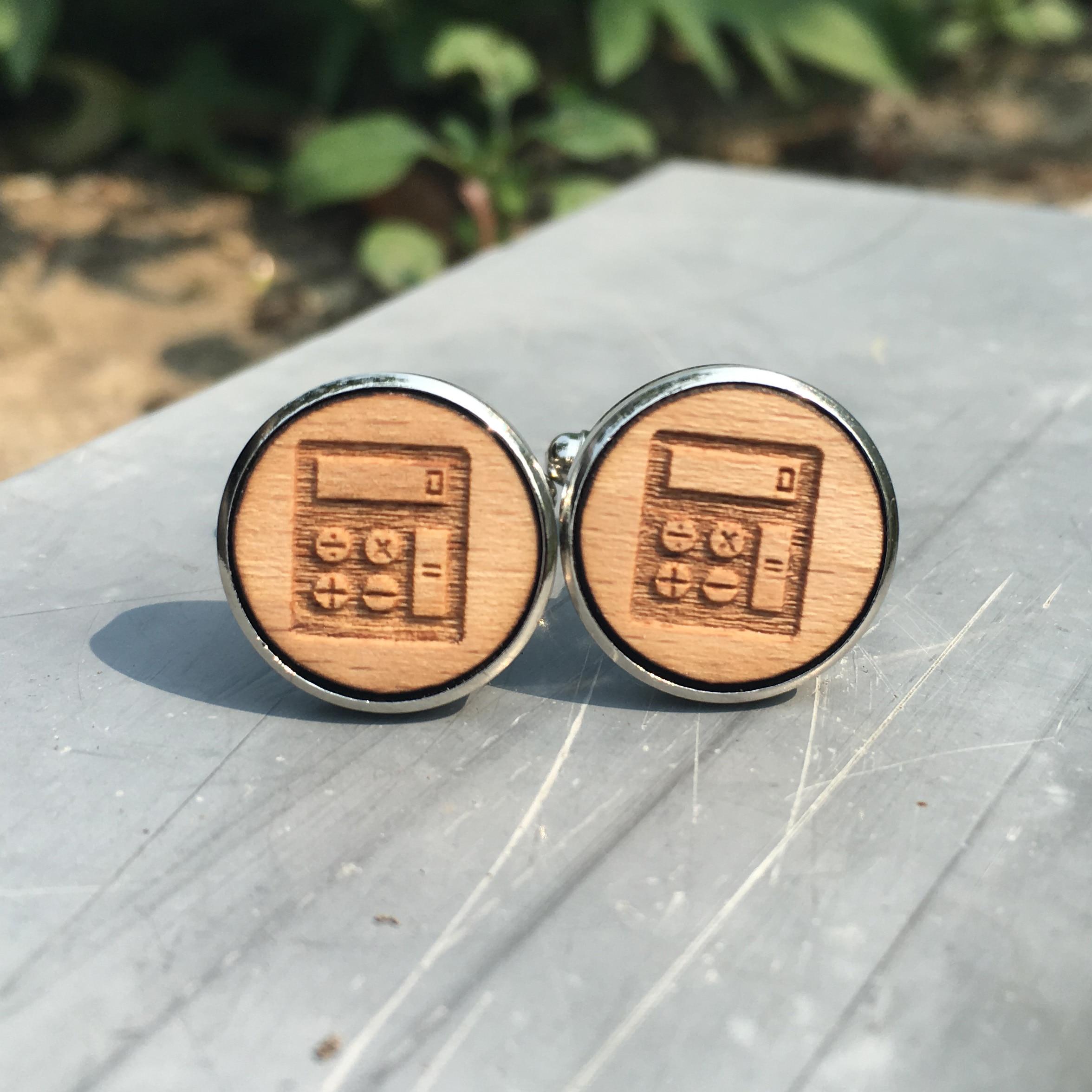 Wedding Gift From Groomsmen: Calculator Wodden Cuff Links Unique Numbers Wood Wedding
