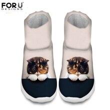 Forudesigns Для женщин модные зимние теплые ботинки милые 3D животных кошки собаки печать Теплый Дамские ботильоны на платформе женский дождь загрузки