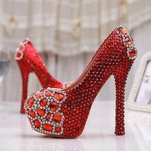 Neue High Fashion Rot Strass Pumpen frauen Party Schuhe Brauthochzeitskleid Schuhe High Heels Lady Prom Schuhe