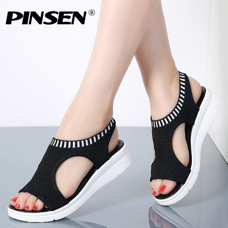 PINSEN Women Sandals 2018 New Female Shoes Woman Summer Wedge Comfortable Sandals Ladies Slip-on Flat Sandals Women Sandalias 2018 new woman sandals women shoes rhinestones chains diamond beaded pinch flat bohemia sandals female large size sandalias k560