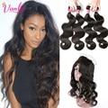 Peruvian Virgin Hair Body Wave With Closure 360 Lace Frontal Closure With Bundles Peruvian Body Wave Lace Frontal Weave Bundles