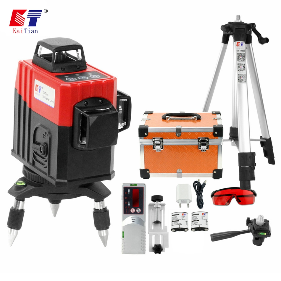 Kaitian 3D 12 Lines Laser Level Tripod Self Leveling 360 Horizontal Vertical Red Cross Laser Battery