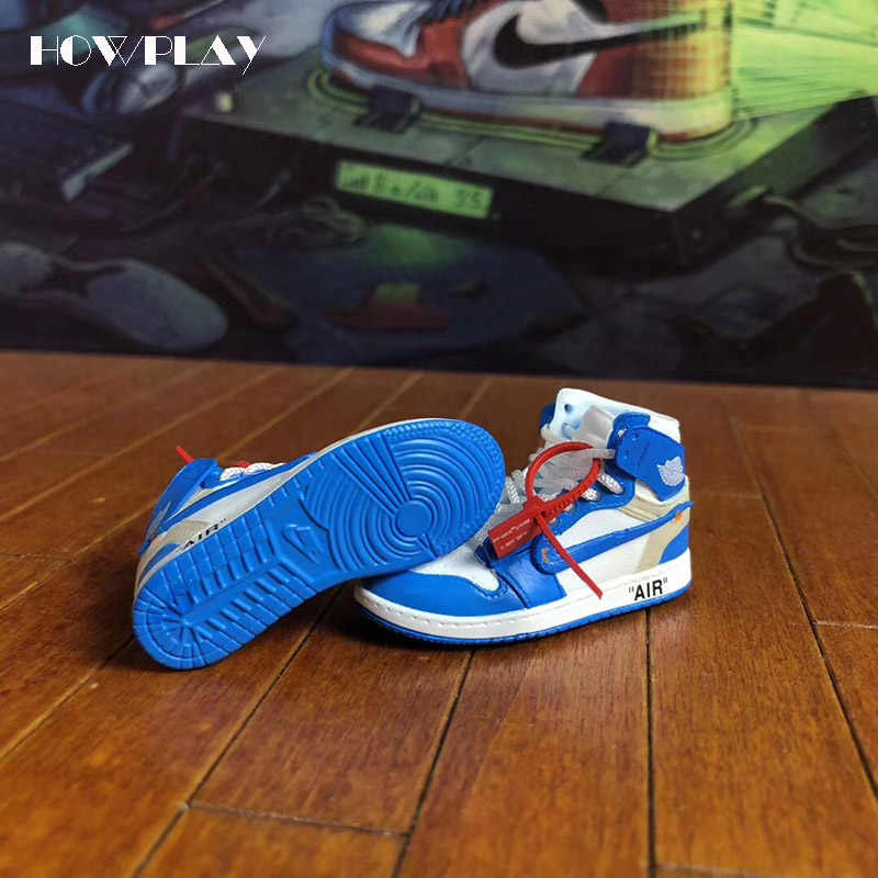 06310ba209a65e ... Howplay AJ1 OW 3D keychains Off White Joint Collection mini Sneakers  Model Shoes Creative Gifts for ...