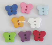 NBNLVG 11mm*14mm butterfly shape sewing buttons plastic mix colors 120pcs 2-hole kids apparel accessories