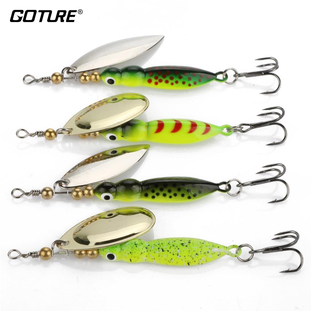 """Goture 4 개 0.52 온스 3.42 """"Winter Fishing Lure 4 색은 Walleye 및 Pike 낚시를 위해 금속 회 전자 미끼를 나타 냈습니다."""