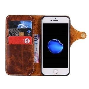 Image 3 - Funda tipo Cartera de piel auténtica Natural para iPhone 6, 6S, 7 Plus, funda para teléfono, Retro, Vintage, con cierre