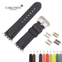 CARLYWET Fashion 38 40 42 44mm Black White Silicone Rubber Replacement Wrist Watchband Strap Loop Belt For Iwatch Series 4/3/2/1