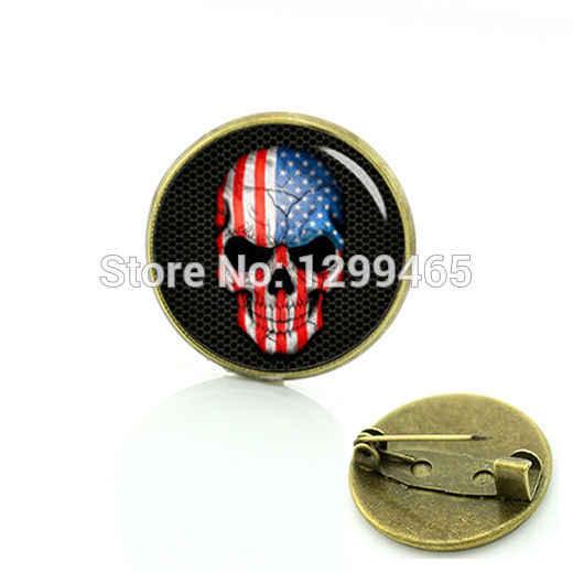 Paese logo di Arte immagine USA bandiera scheletro pin Americano Bandiera Del Cranio spilla Accessori Vintage nazionale simbolico badge C 804